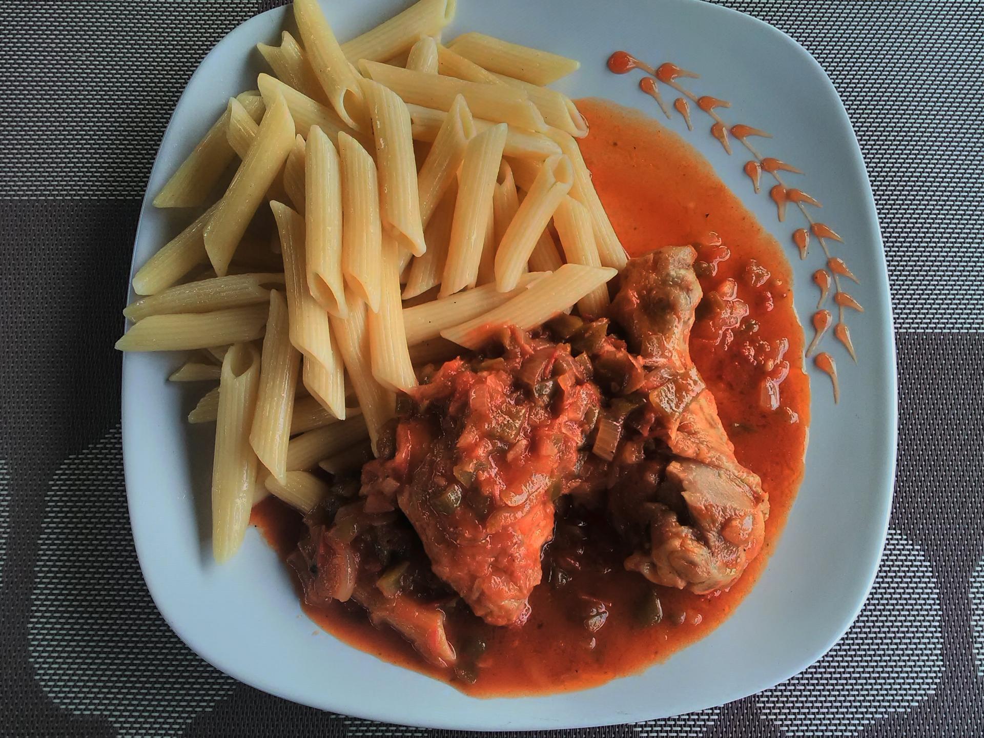 poulet basquaise + pâtes